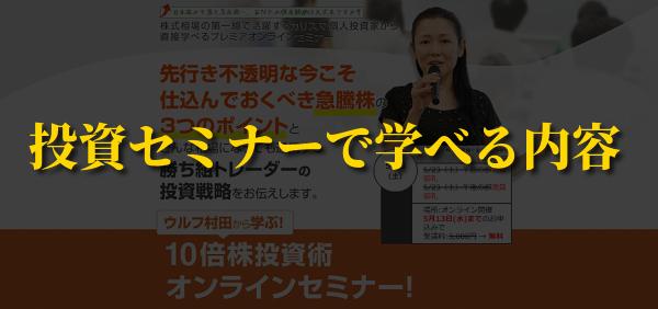 ウルフ村田10倍株投資術体験セミナーの口コミ評判 学べる内容
